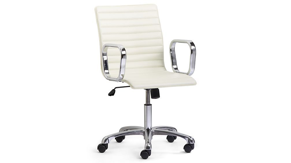 Ripple Ivory Leather Office Chair With Chrome Base For The Home