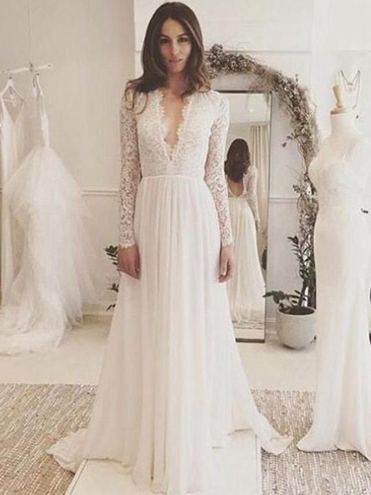 17245a12c517 Various styles of v-neck wedding dresses, you will find a perfect one here  for your wedding!