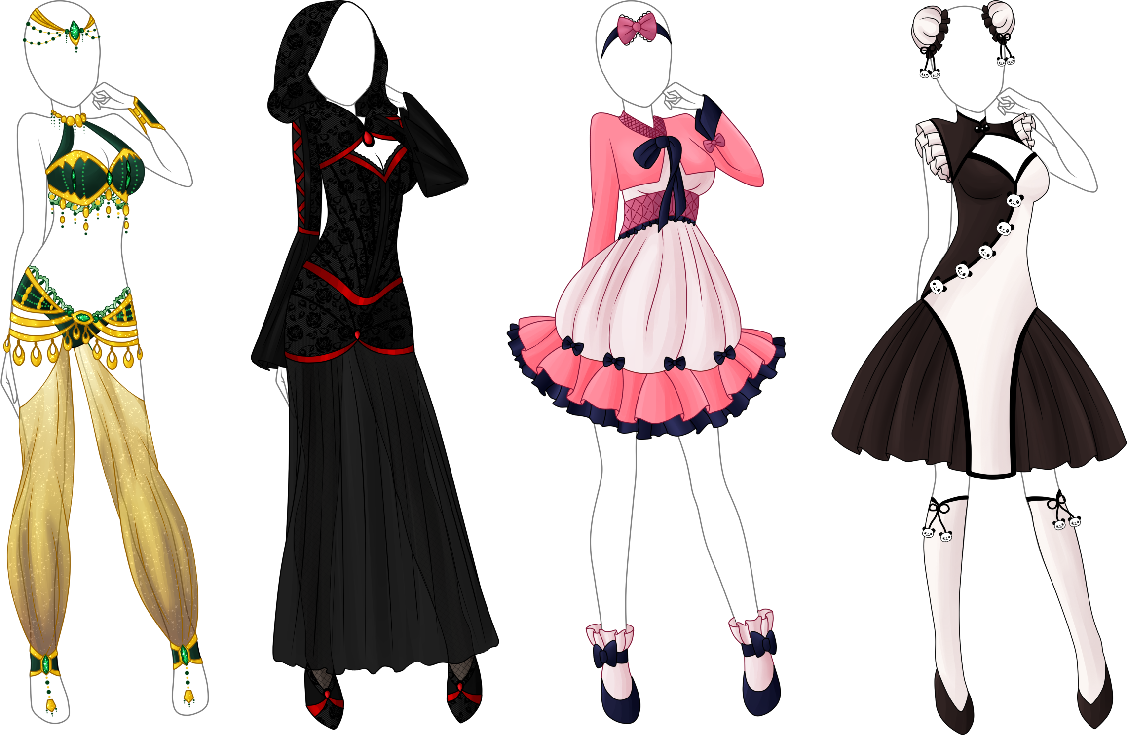 4 Styled Outfit Adoptable Bunch Closed by TropicSea