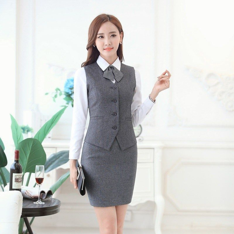 Womens Business Suit With Skirt And Vest Waistcoat Tops Vests