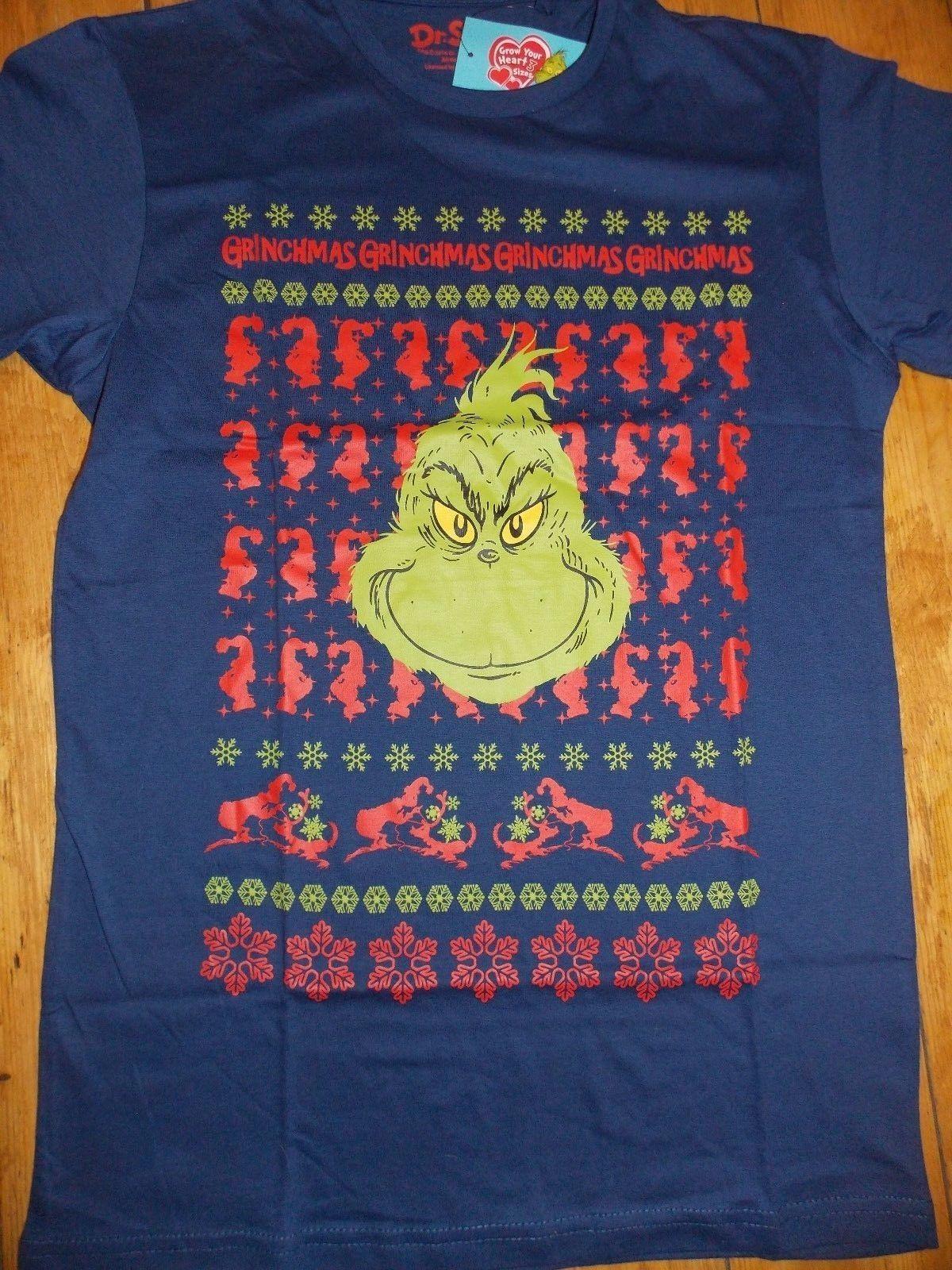 b24e059f18d07 PRIMARK Mens THE GRINCH GRINCHMAS Fair Isle Christmas T Shirt ...