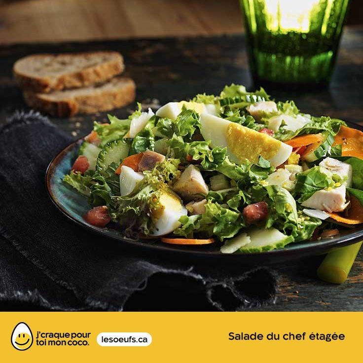 Salade du chef étagée | lesoeufs.ca | #Oeufs #Salade