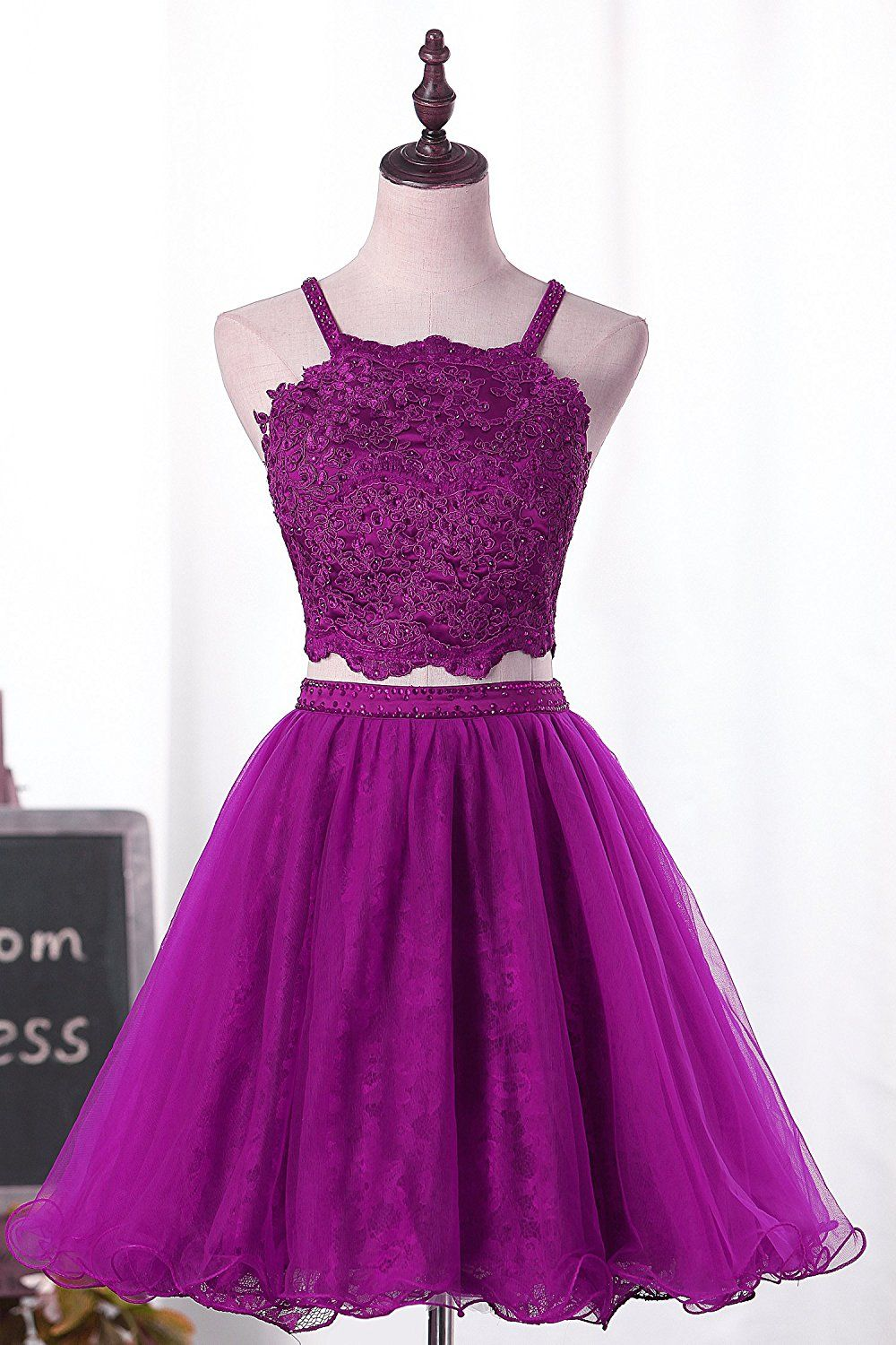 Lovingdress two pieces homecoming dresses with beaded tulle prom