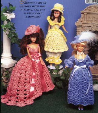 """Victorian Doll Costumes 5 Designs for 15/"""" Dolls Crochet PATTERN//INSTRUCTIONS"""