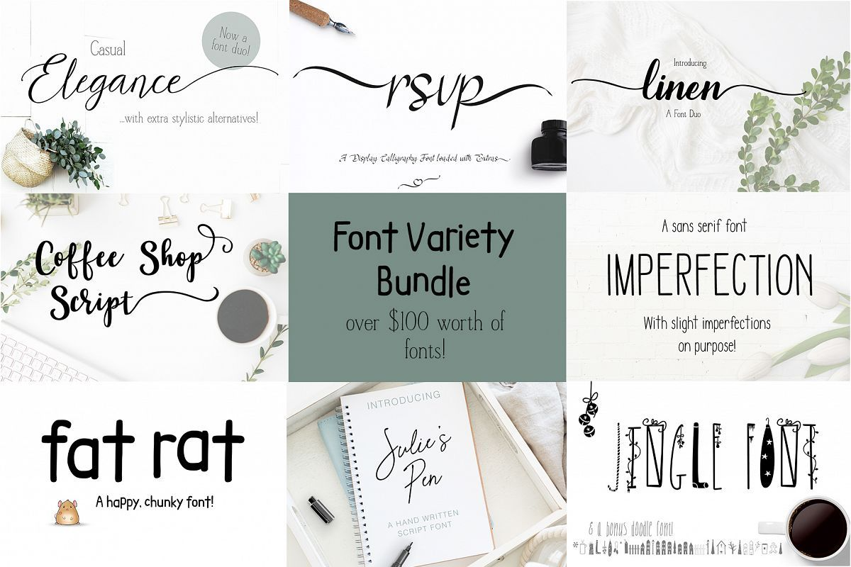 Download Font Bundle Variety of Script Serif and Fun (478826 ...