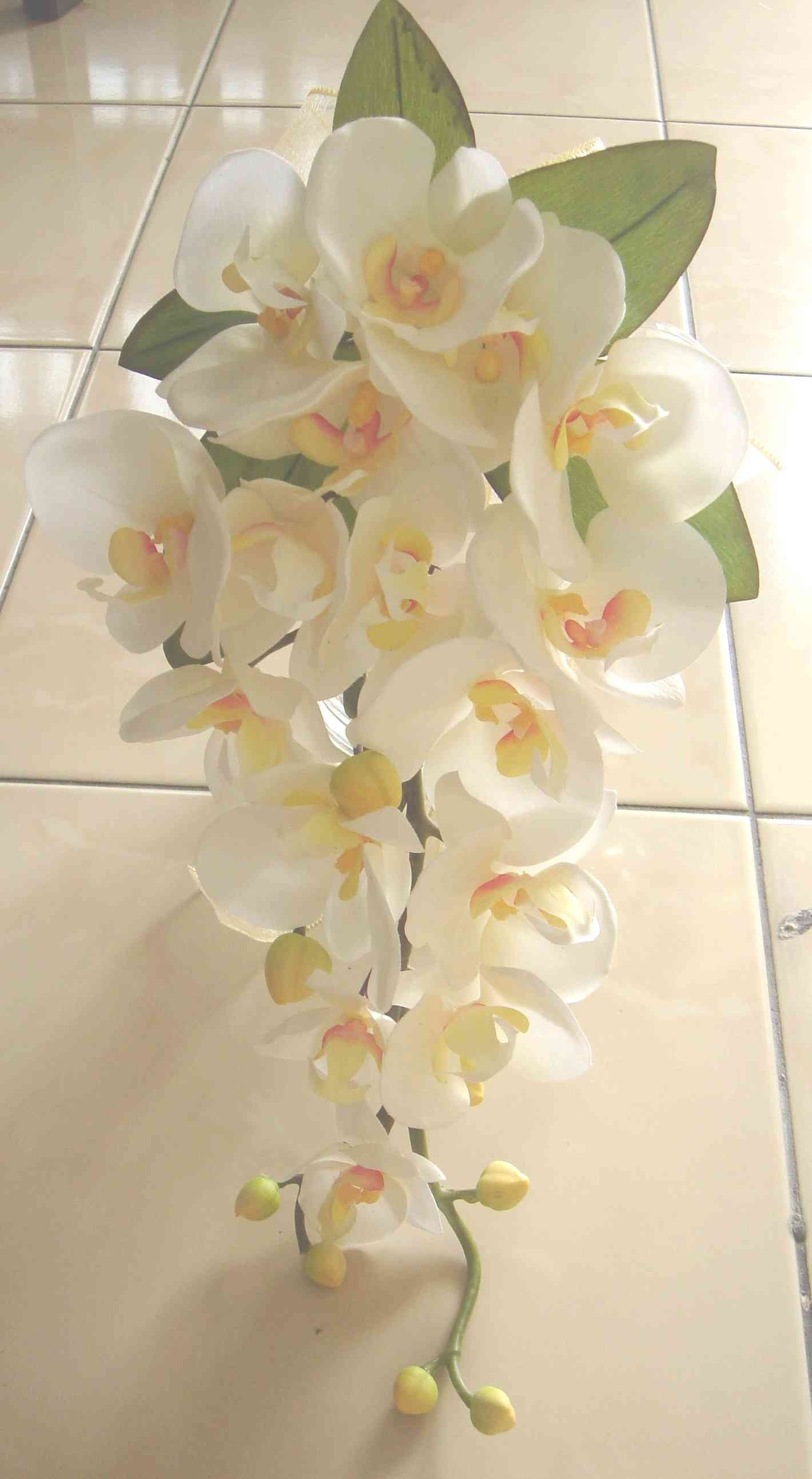diy silk orchid cascade bouquet love this shape and size simple and not over - Silk Orchids