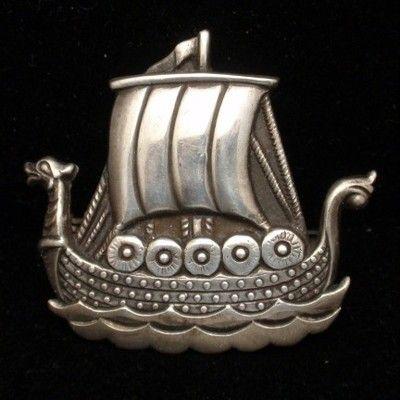4 Viking Ship Charms Silver Tone Metal