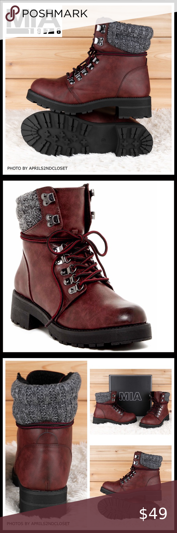 ANKLE BOOTIES LACE UP HIKER COMBAT MOTO BOOTS A3C