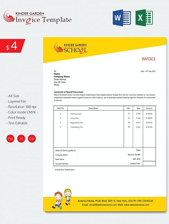 Kindergarten School Invoice Templates Downloadable Invoice