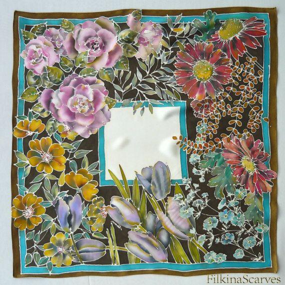 Don de main peinte soie Satin écharpe printemps fleurs jardin peint à la  main foulard femme soie peinture Batik main mère cadeau Unique Col écharpe  • Peint ... b6c6108bed3