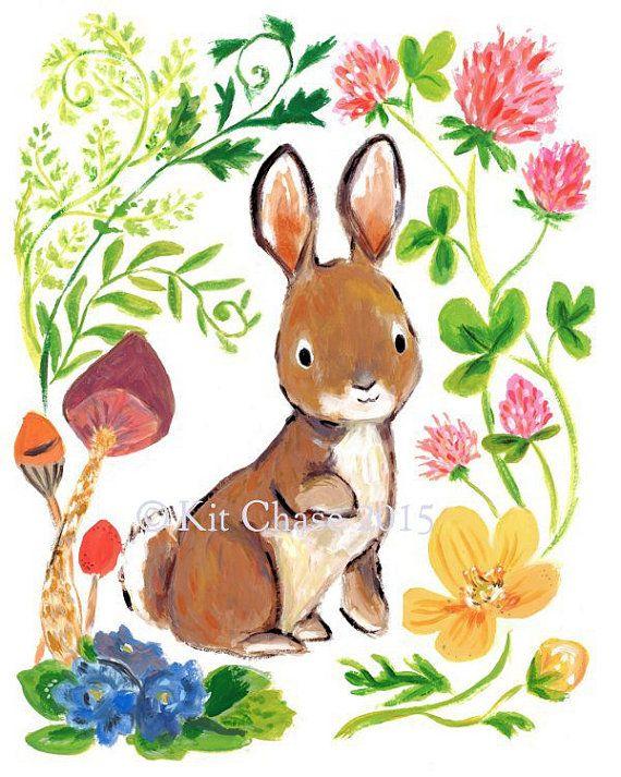 Children's Art  Bunny Flowers  Art Print