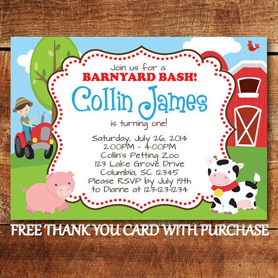 Party Animal 1st Birthday First Birthday Ideas: Farm Animal Birthday Invitation