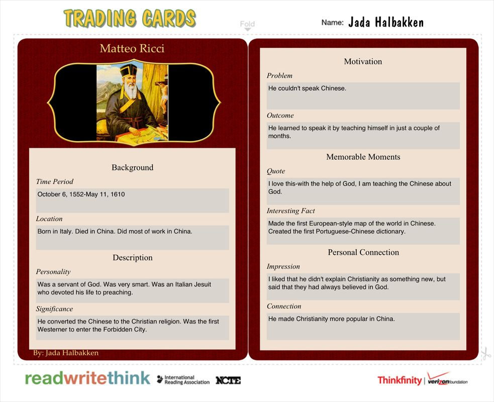 Matteo Ricci -- Student Examples of Trading Card App by - sample trading card