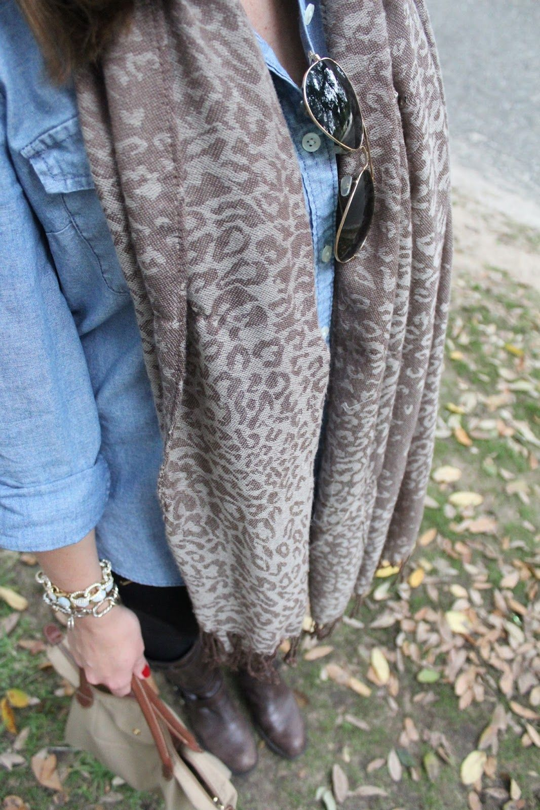 Chambray shirt and leopard scarf via With Style and a Little Grace