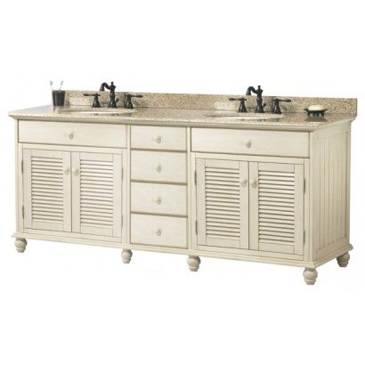"Foremost CTAAT7222D Cottage 72"" Double Vanity Set in Antique White with Vanity Top in Mohave Beige 