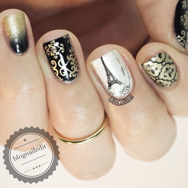 paris inspired nails with eiffel