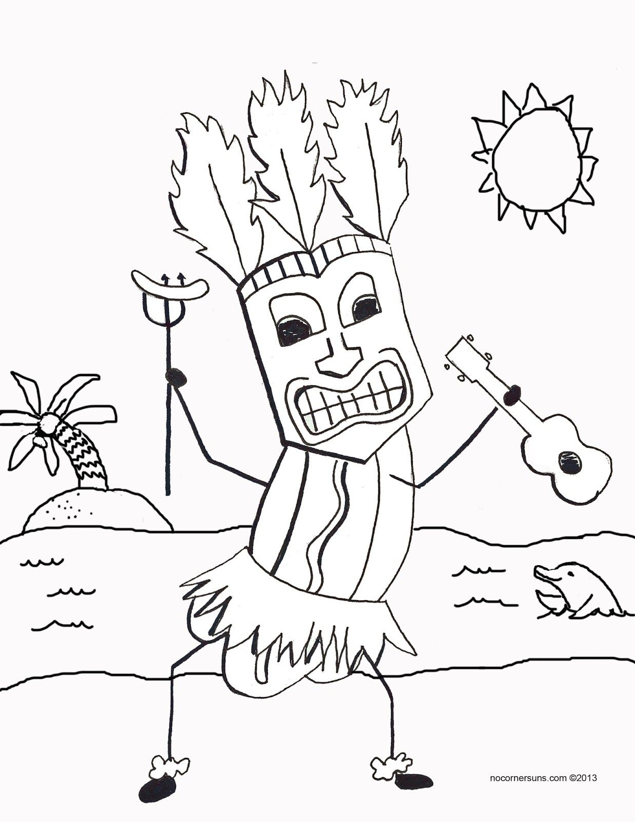 Tiki Hot Dog With Ukulele Coloring Page