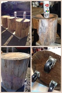 painting and recycling stumps- side tables!  www.roomcandy101.blogspot.com