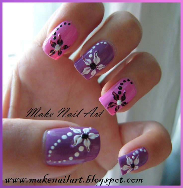 nice Hawaiian Flower Nail Art | Nail Art Design Short French Manicure  Blackwhite Flow. - Nice Hawaiian Flower Nail Art Nail Art Design Short French