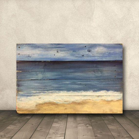 My Happy Place On Plank Wood Beach House Decor Acrylic Painting Blue Beach Art Rustic Beach Art Beach Art On Wood In 2020 Wood Art Painting On Wood Beach Painting