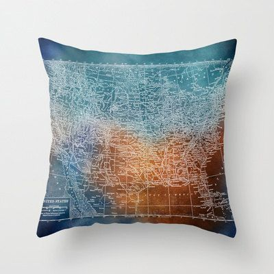 US Map Pillow Grunge Blue And Rust United States Throw Pillow - Us map pillow