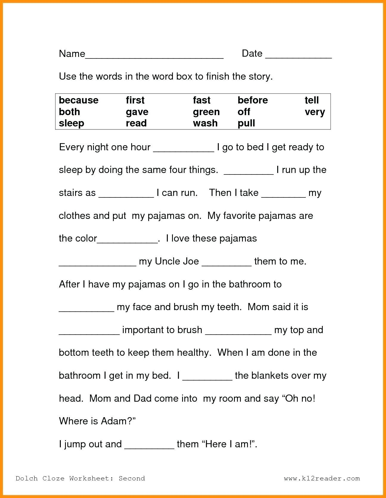 First Grade Reading Worksheets Free 1st Printable
