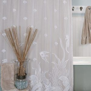 white lace shower curtain. Heritage Lace Shower Curtain Seascape White H