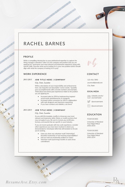 Sorority Resume Template Word Document Nurse Resume With Pink Etsy Resume Template Word Job Application Letter Template Resume Template