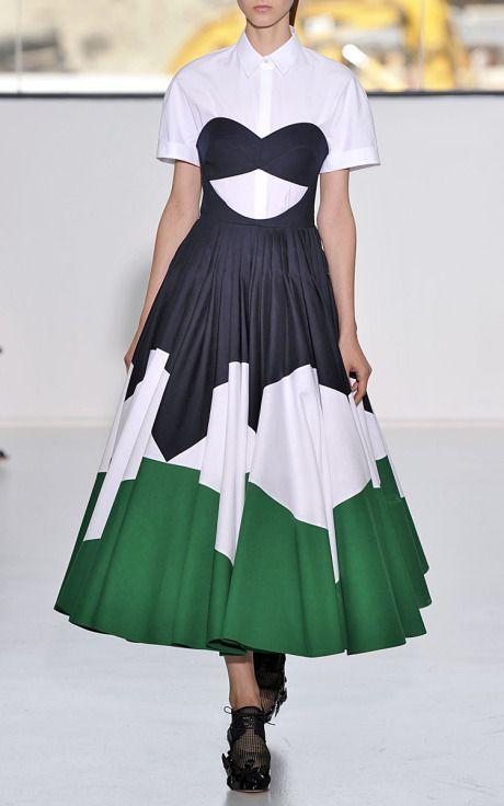 New York Fashion Week, preorder Delpozo Spring 2015 Runway Trunkshow Look 9 - Dark Navy Blue Double Poplin Strapless Dress and Optical White Cotton Poplin Short Sleeve Top