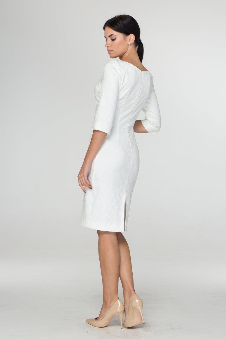 Weiße Cocktail Frühling Kleid Midi Hochzeit Party Kleider für