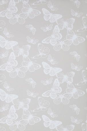 Kauniota valkoisia perhosia beigellä pohjalla<br>Kuitutapetti (non-woven)<br>Leveys 53 cm <br>Kuviokohdistus 32 cm<br>Rullan pituus 10,05 m<br>Valmistettu Ruotsissa