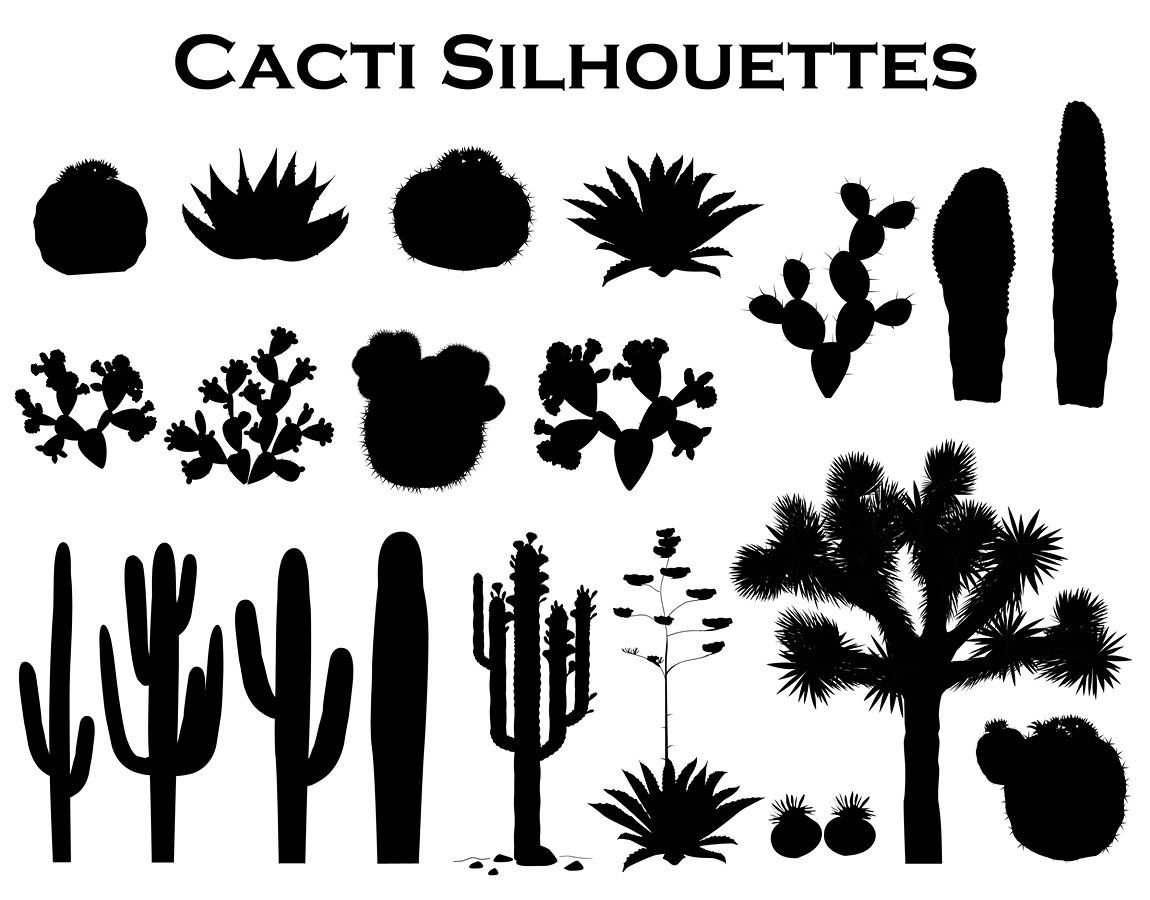 Cactus Collection Cactus Silhouette Joshua Tree Sillouette Painting