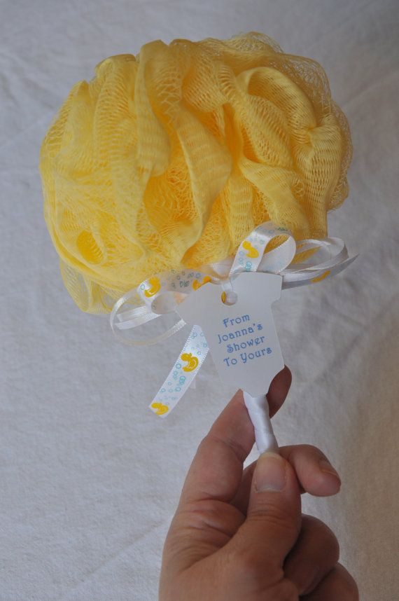 yellow baby rattle bath puff baby shower favor by kristinswhimsy, Baby shower