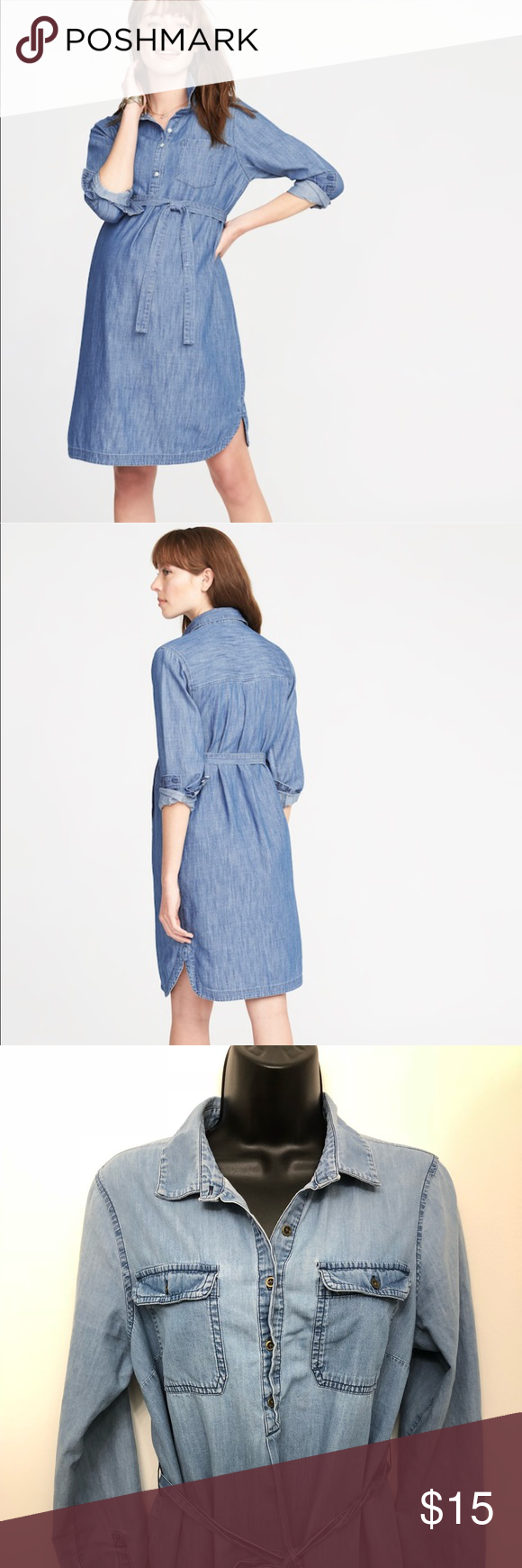 22ef758e31 Old Navy Maternity Tie-Belt Chambray Shirt Dress Light weight and goes with  everything Condition  Great