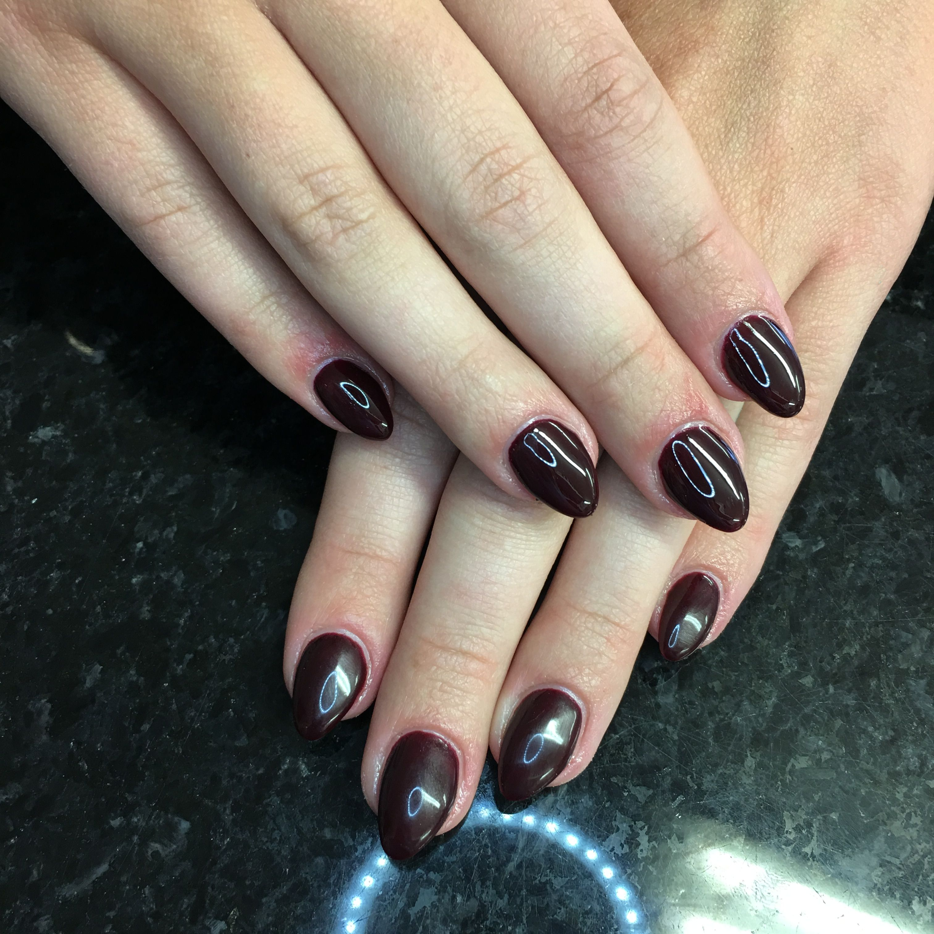 Dark Red acrylic nails | 1. Double Team + Dynamicpunch Powerful ...