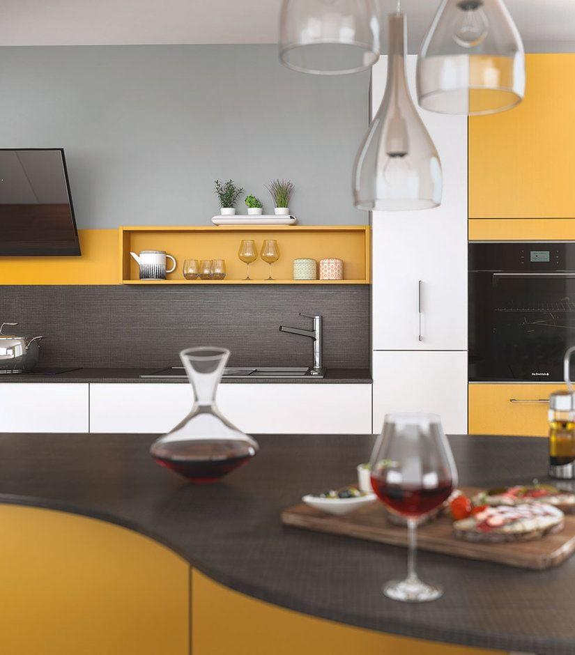 Cuisine Mobalpa Ambiance Vintage Meubles Jaunes Et Blancs - Meuble cuisine jaune ikea pour idees de deco de cuisine