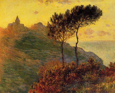 Claude Monet ~ Church At Varengeville, Against The Sunset