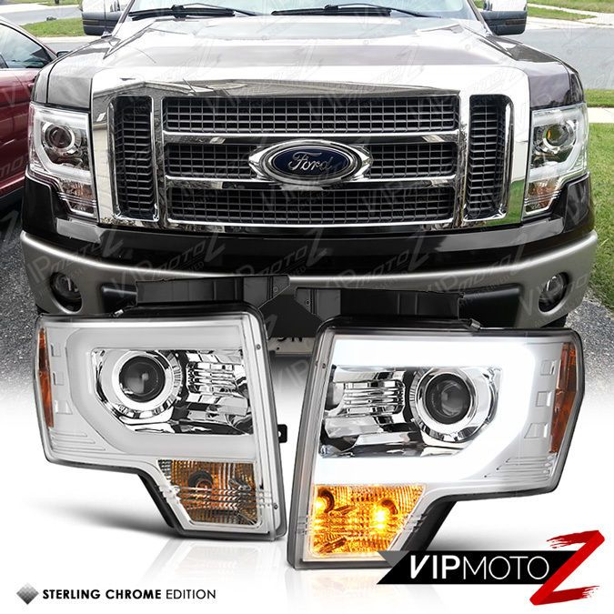 Exclusive 09 14 Ford F150 Chrome Raptor Style Halo Led Strip Projector Headlight Ford F150 Projector Headlights F150