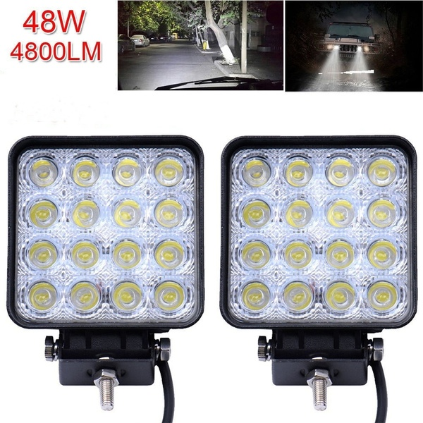 Led Light Bar Square 48w Led Work Light 12v 24v Off Road Waterproof Led Lights Work Pod Light Fog Lights For Trucks Golf Cart 4wd Truck Suv Jeep Boat Atv