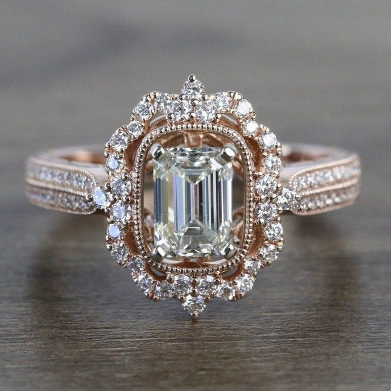 2.00 CT Emerald Cut Moissanite Diamond Engagement Ring, 14k Solid White Gold Halo Vintage Ring, diamond Wedding Ring women ring promise ring