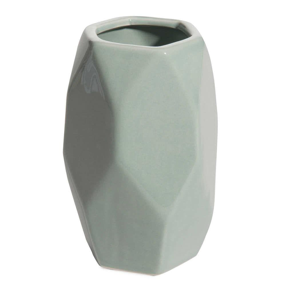 FACETTE graphic light blue ceramic vase H 15 cm