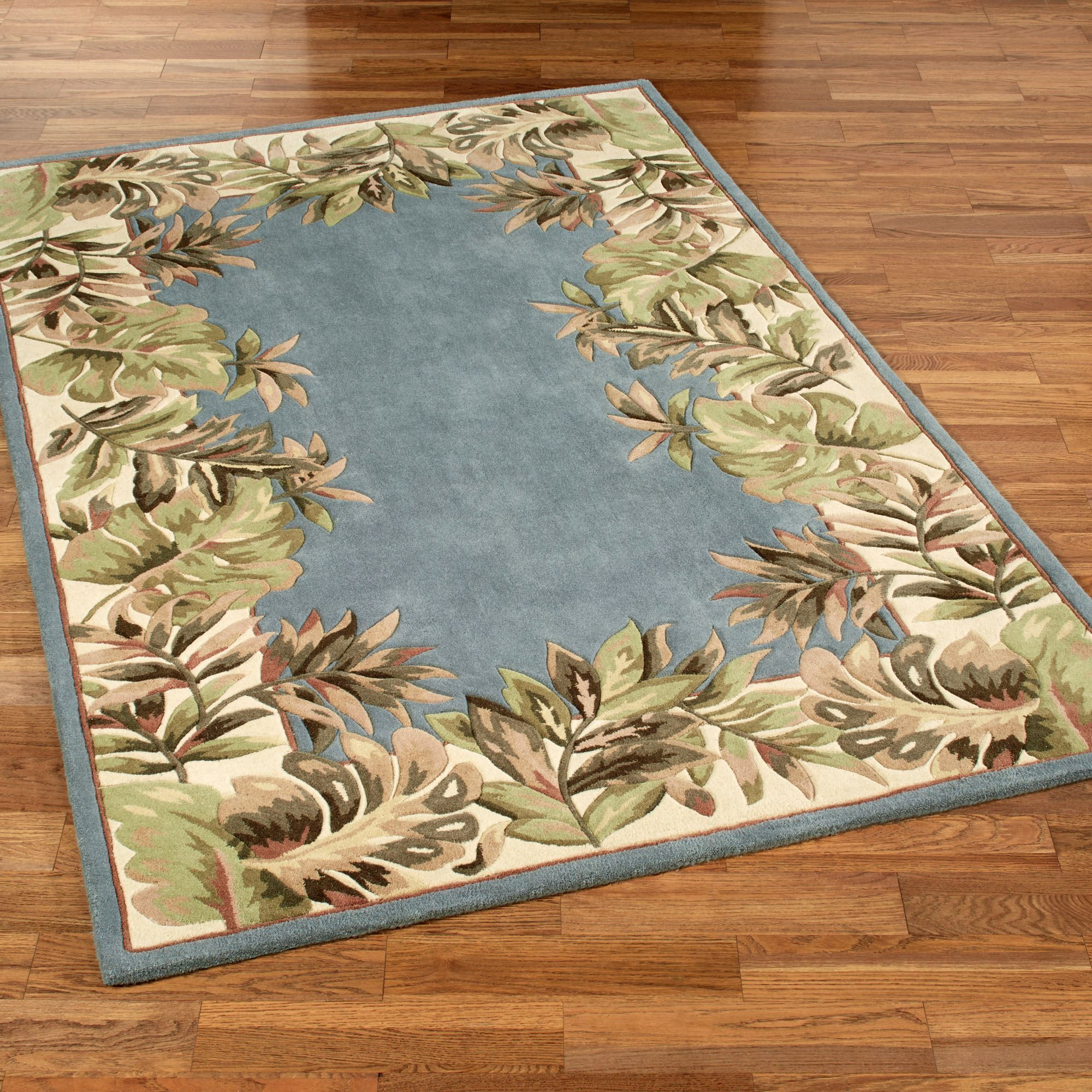 Paradise Border Rectangle Rug Blue Shadow
