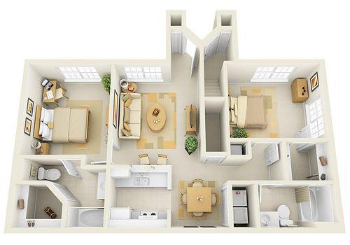 2br 3d Floor Plan For Websites Downloading House Floor Plans Apartment Plans House Plans