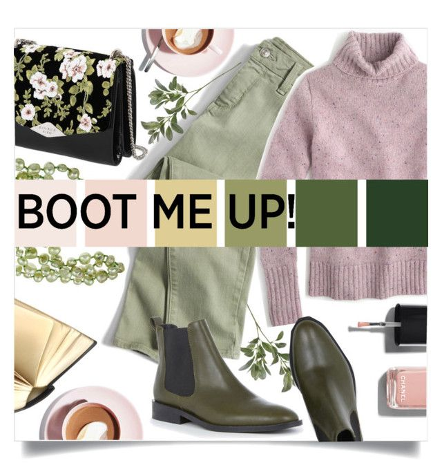 """""""Boot Me Up"""" by asfuni ❤ liked on Polyvore featuring Chanel, Martha Stewart, Rochas, DaVonna, J.Crew and Warehouse"""