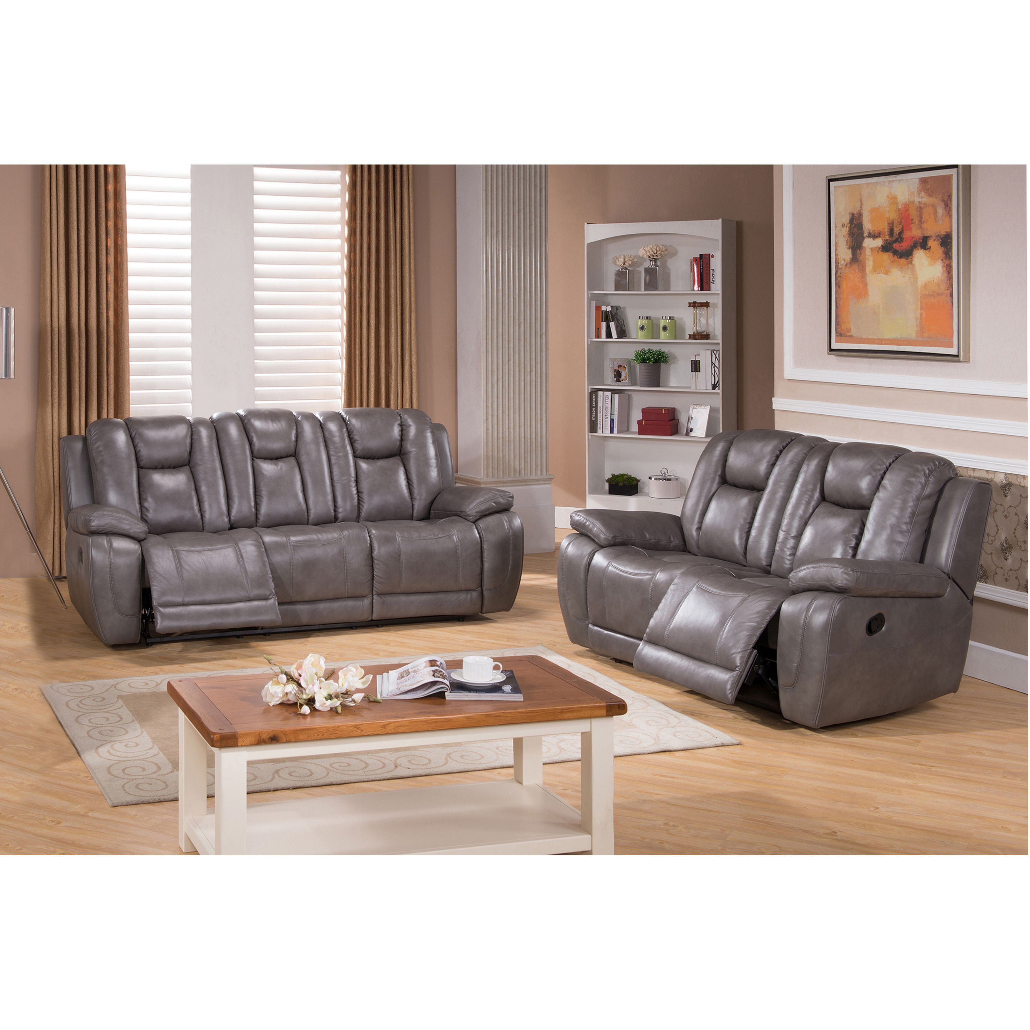Galaxy Grey Top Grain Leather Lay Flat Reclining Sofa And