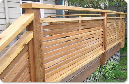 Cheap deck railing ideas deck staining the green way for Cheap decking material