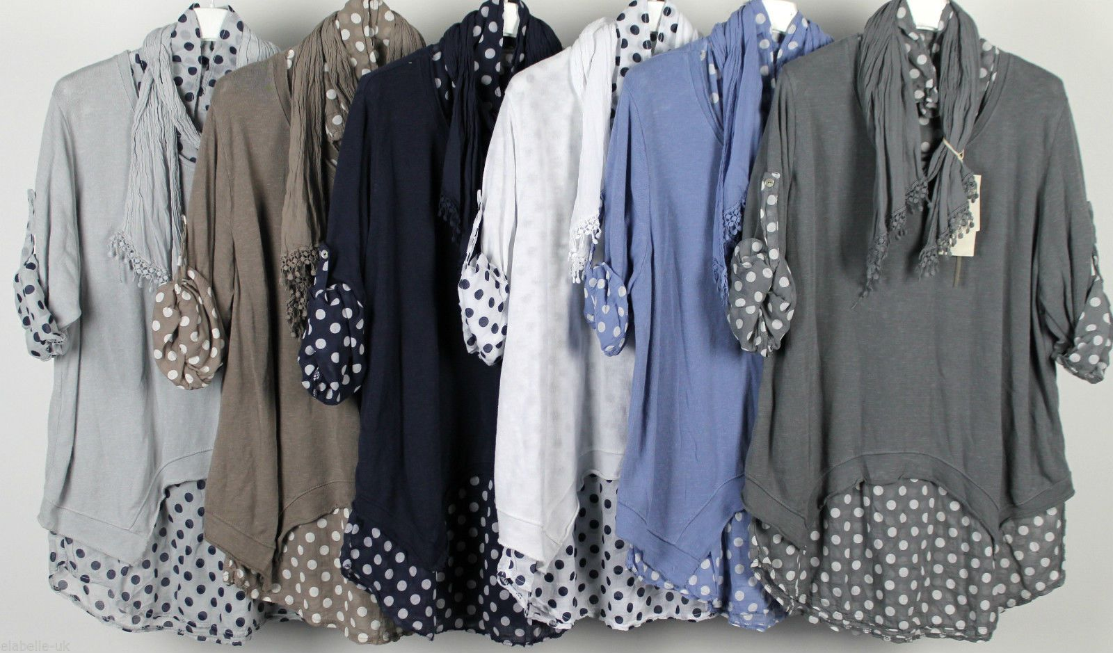 NEW LADIES LAGENLOOK BOHO LAYERED POLKA DOT SHIRT WITH SCARF & PLAIN OVERTOP in Clothes, Shoes & Accessories, Women's Clothing, Tops & Shirts | eBay