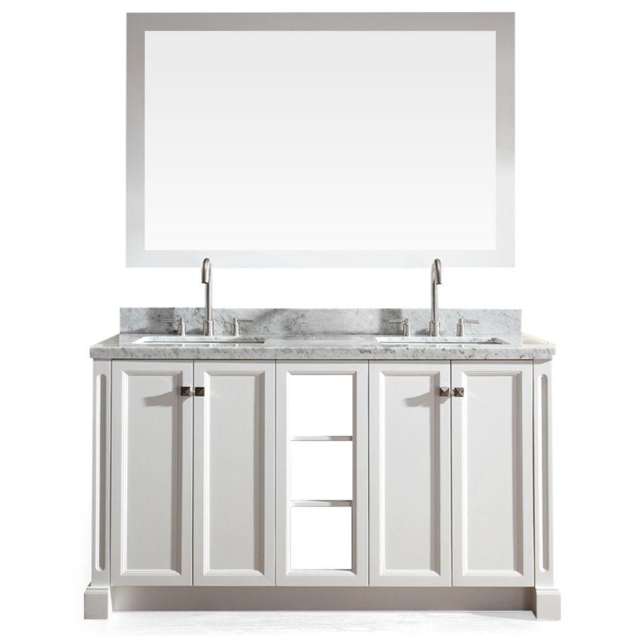 Double sink white bathroom vanities ariel westwood white in undermount double sink asian hardwood