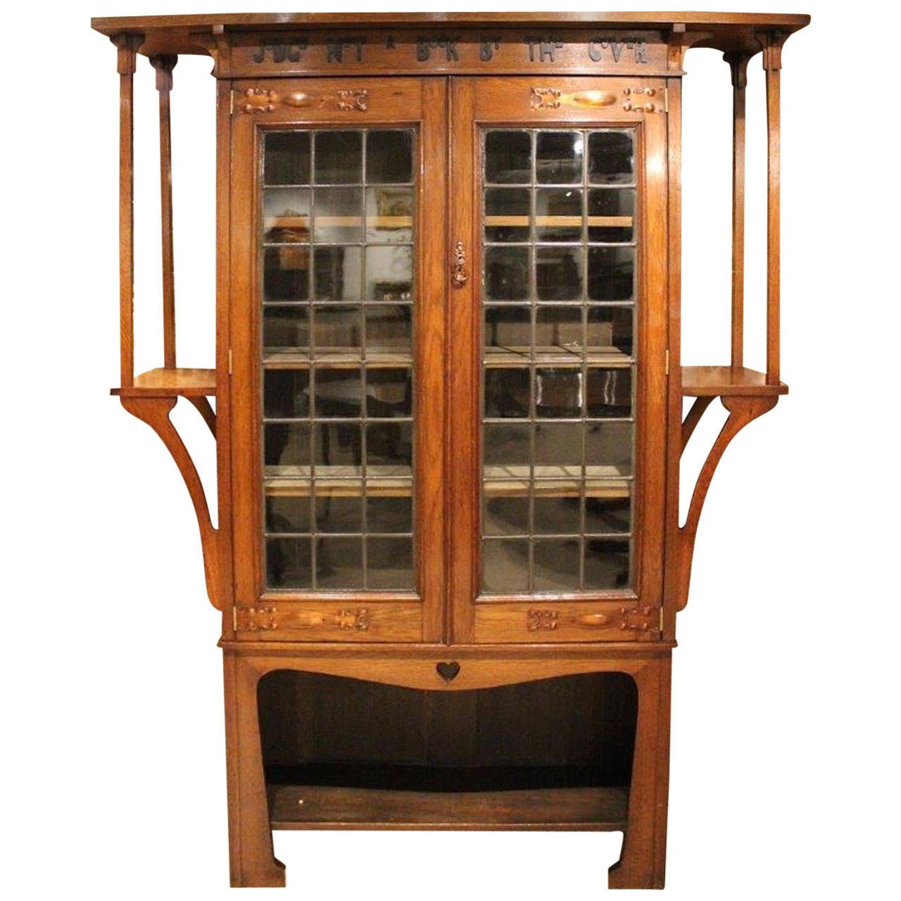 Antique arts and crafts furniture - Oak Arts Crafts Liberty S Style Bookcase With Motto