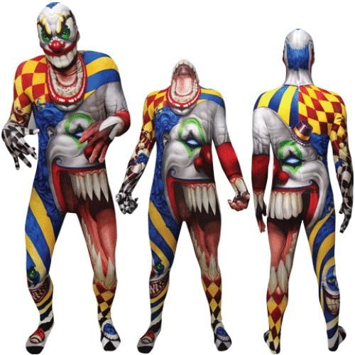 scary clown morphsuit bodysuit monster halloween costume unisex completeoutfit 7499 - Morphsuits Halloween Costumes
